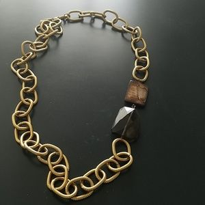 Brown stone and large gold link necklace